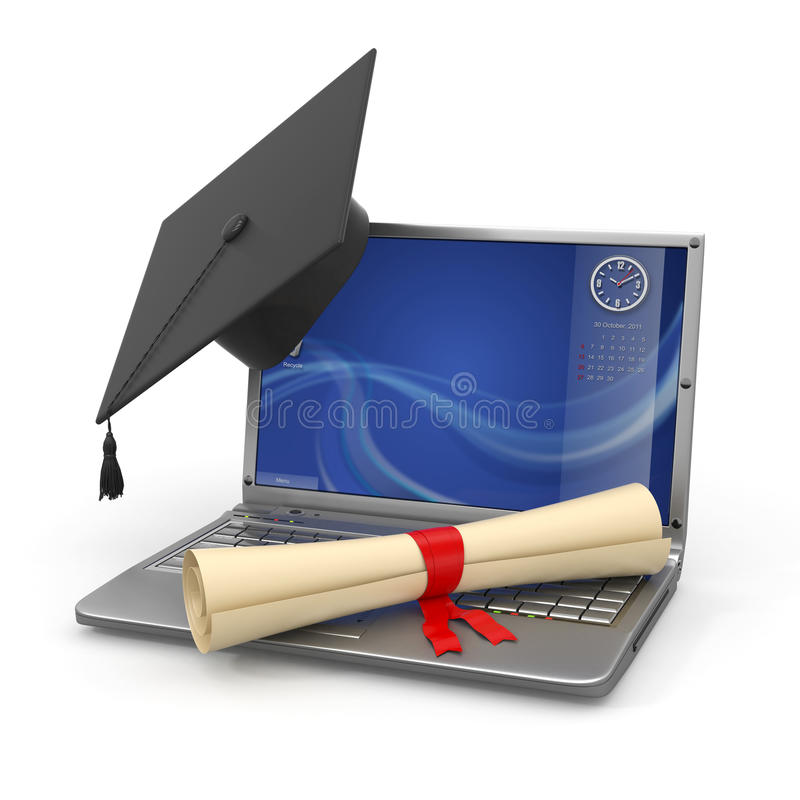 Graduation d'apprentissage sur internet. Ordinateur portatif illustration stock