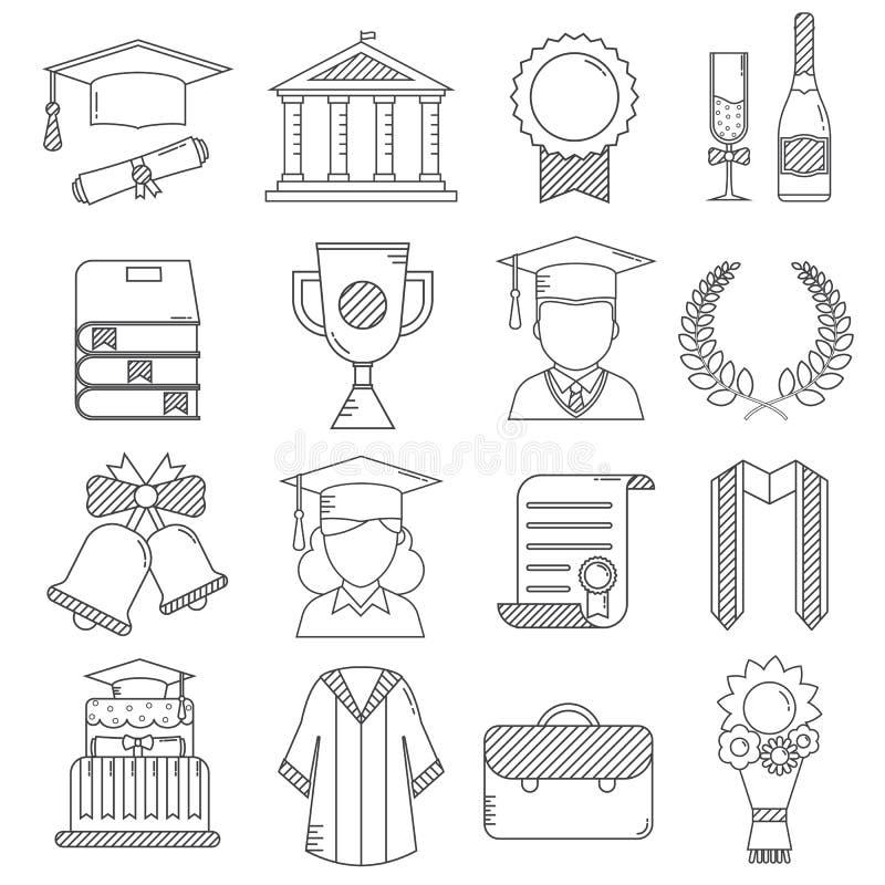 Graduation Day Ceremony Thin Line Icons vector illustration