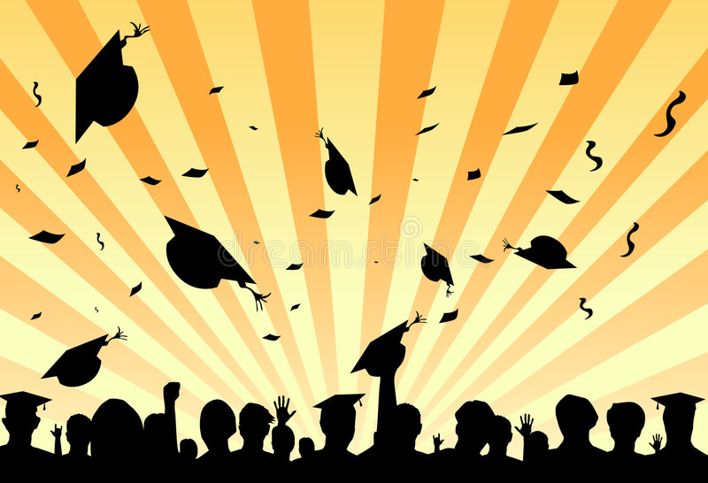 Graduation day party by students stock illustration