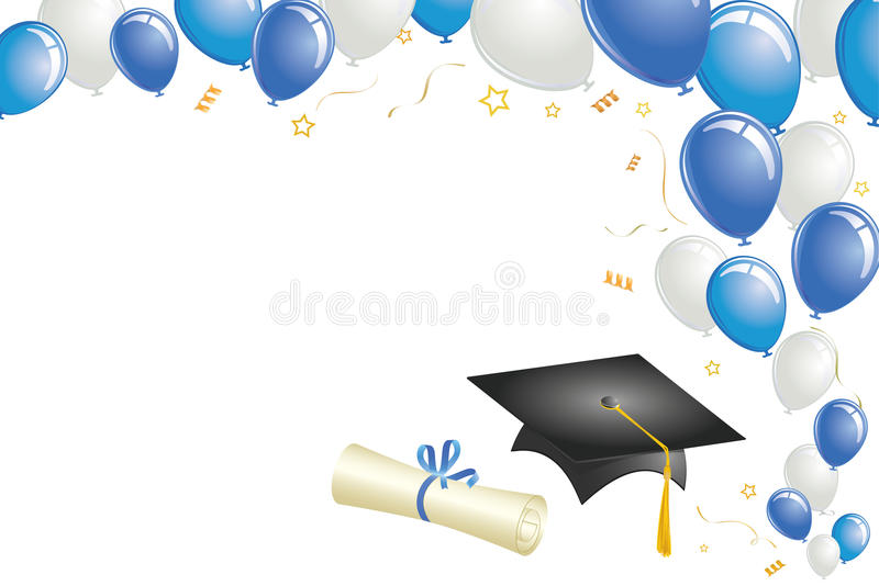Graduation Design with Blue Balloons vector illustration