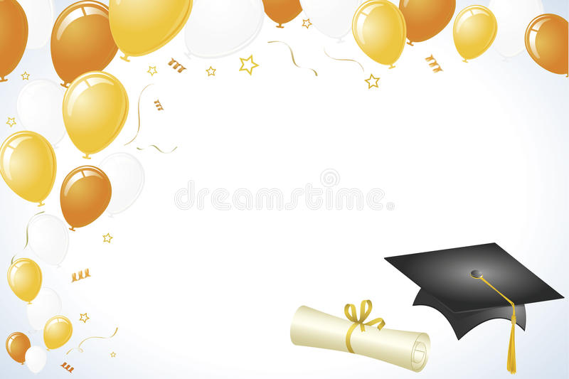 Graduation Design with Gold and Yellow Balloons stock illustration