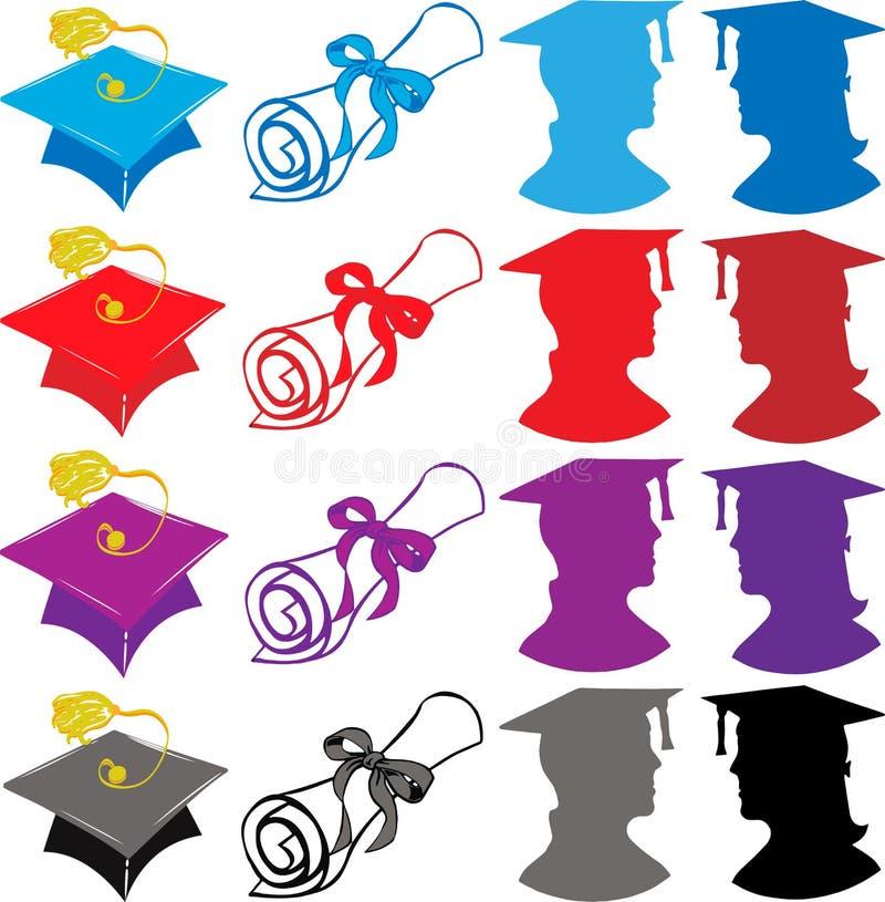 Graduation Elements. With Cap, diploma, Graduates Illustration vector illustration