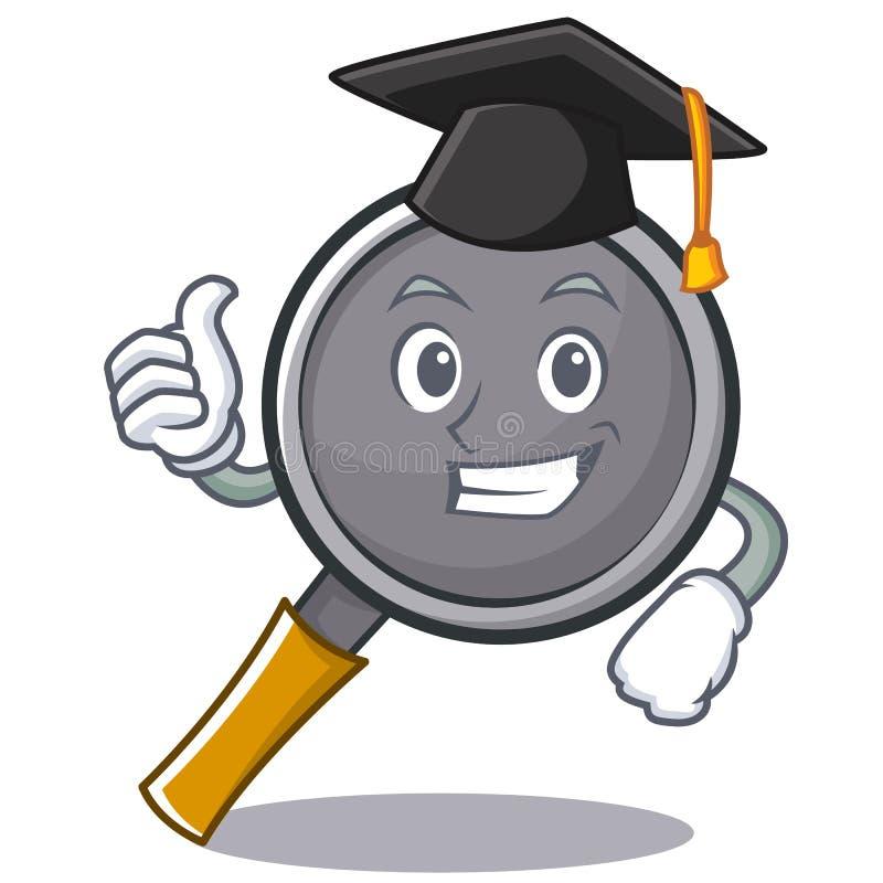 Graduation frying pan cartoon character. Vector illustration royalty free illustration