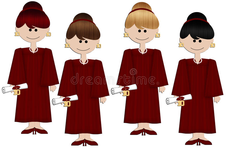 Download Graduation Girls - Burgundy Gown Stock Illustration - Image: 13752789
