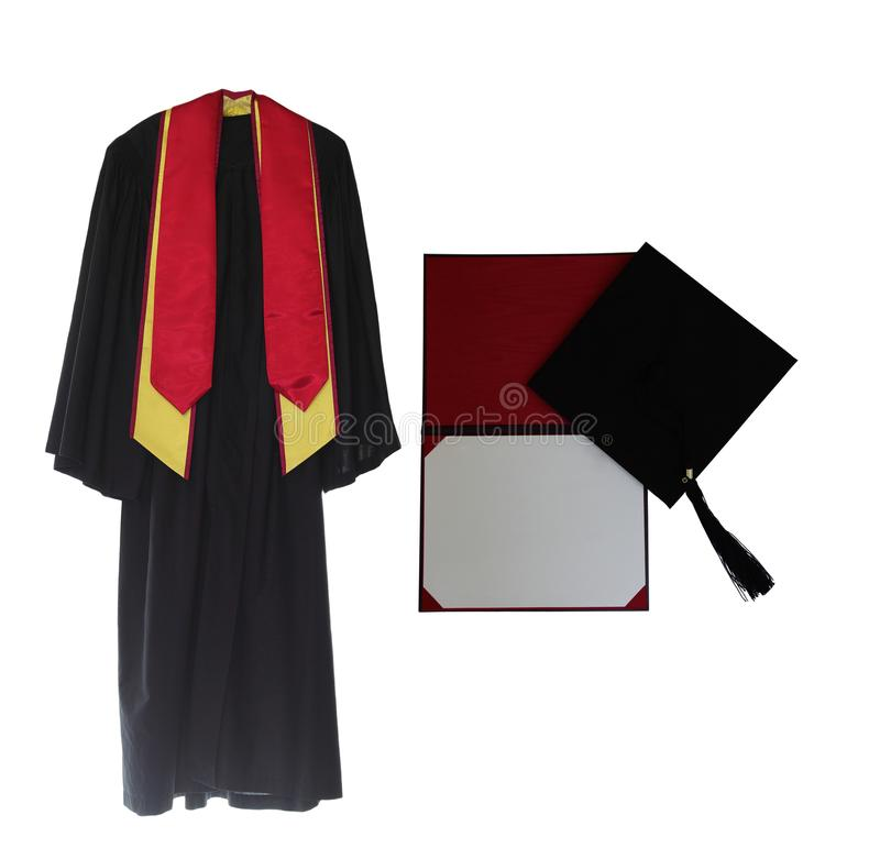 Graduation Gown. Cap and diploma isolated on white background royalty free stock photography