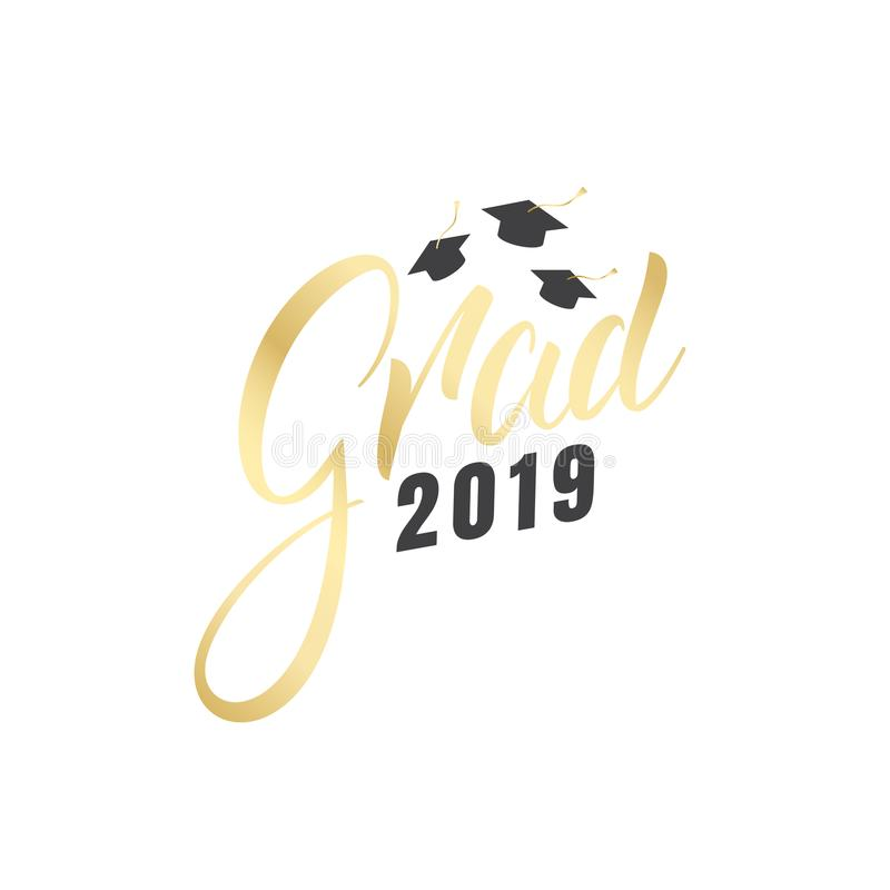 Graduation. Grad 2019 gold lettering label and graduation caps stock illustration