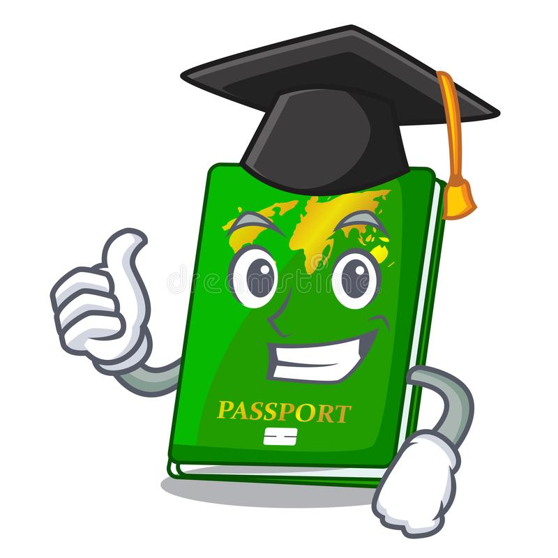Graduation green passport in the cartoon shape. Vector illustration royalty free illustration