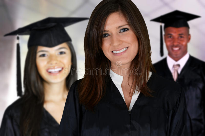 Graduation. Of a group of students dressed in a black gown royalty free stock photography