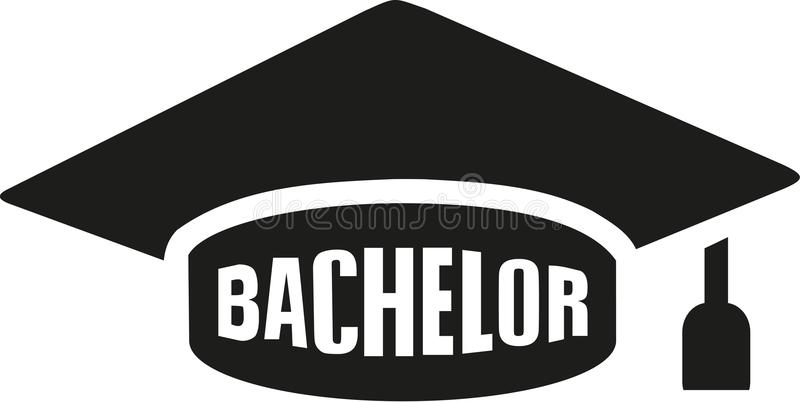 Graduation hat with bachelor. Vector stock illustration