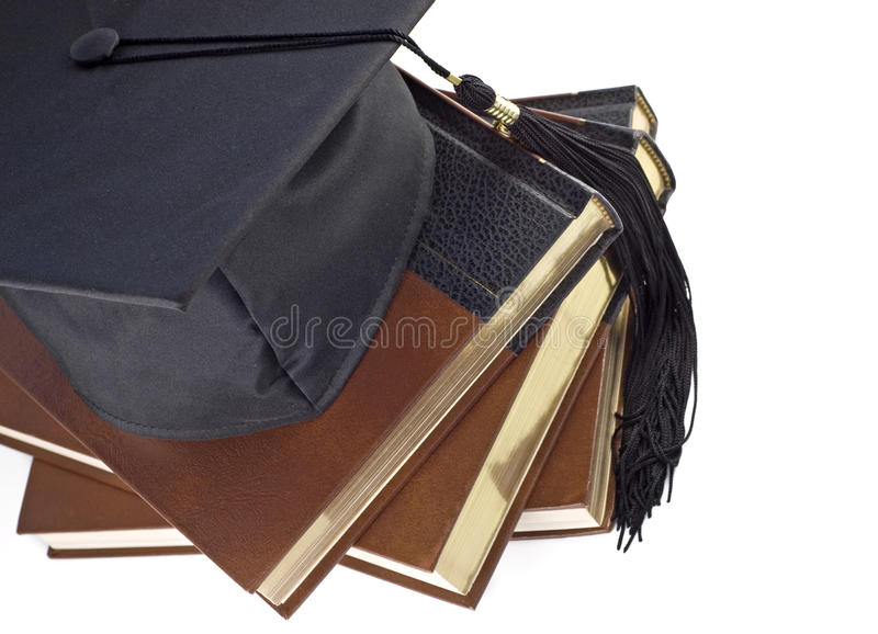 Graduation Hat and Books stock photography