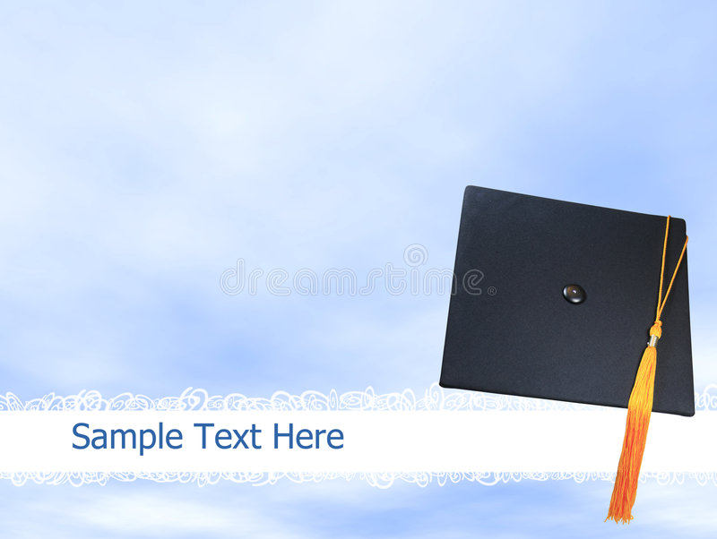 Graduation hat or cap background. On blue sky, plenty of copy space for text royalty free stock photo