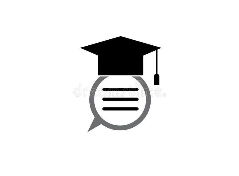 Graduation Hat with a dialog inside chat icon for logo design illustration royalty free illustration