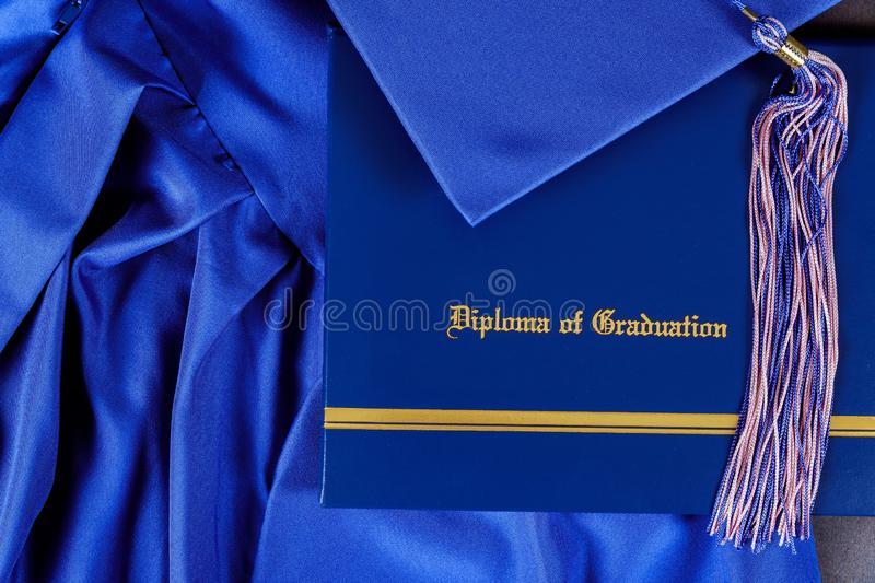 Graduation hat and diploma certificate front view. Graduate college concept education university success achievement school degree academic cap celebration stock photography