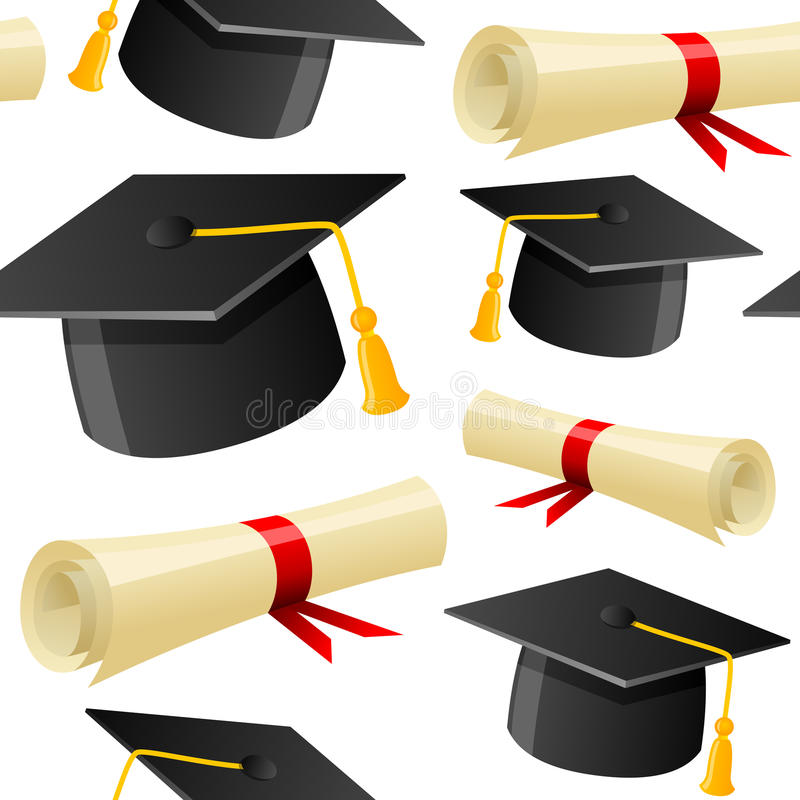 Graduation Hat and Diploma Seamless. A seamless pattern with graduation hats and diploma, on white background. Eps file available stock illustration