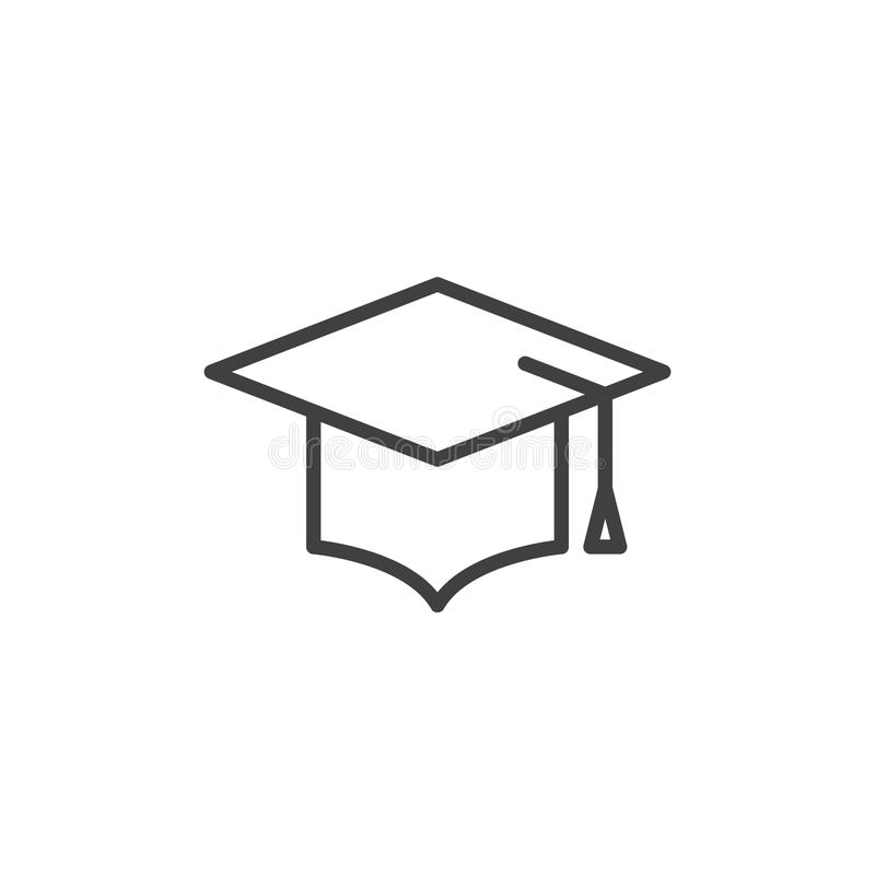Graduation hat line icon, outline vector sign, linear style pictogram isolated on white. royalty free illustration