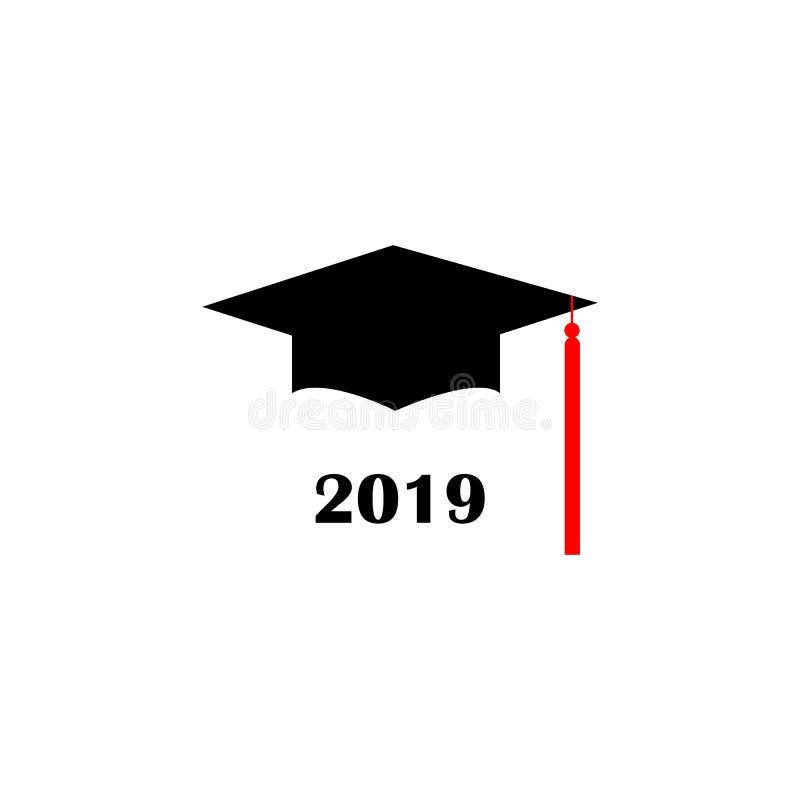 Graduation hat Logo Template Design Elements 2019. Vector illustration isolated on white background. royalty free illustration