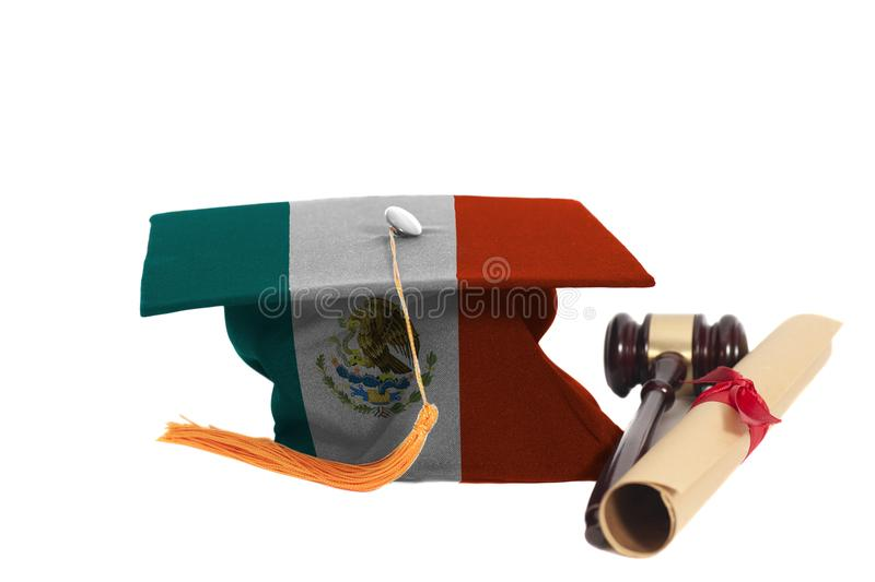 Graduation Hat with Mexico flag with Diploma and Judge Gavel. Isolated on White Background royalty free stock photo