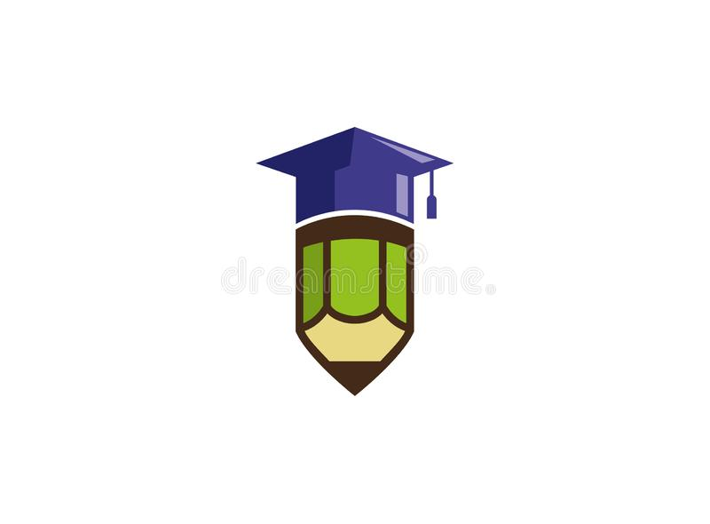 Graduation hat on a pen for logo design illustration vector illustration