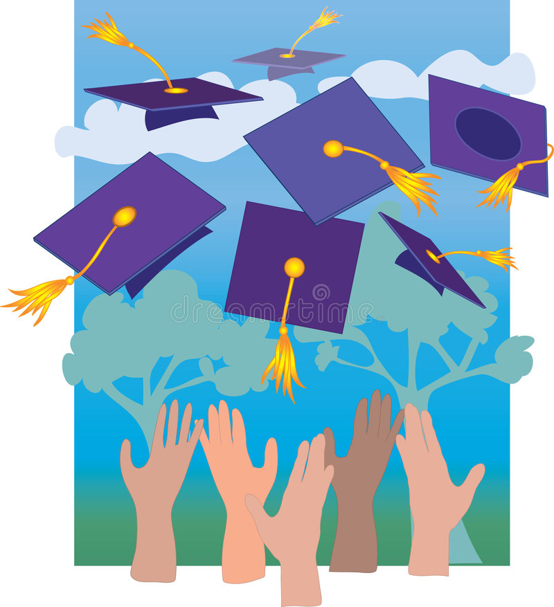 Graduation Hats. Multicultural Hands throwing mortarboards in the air royalty free illustration