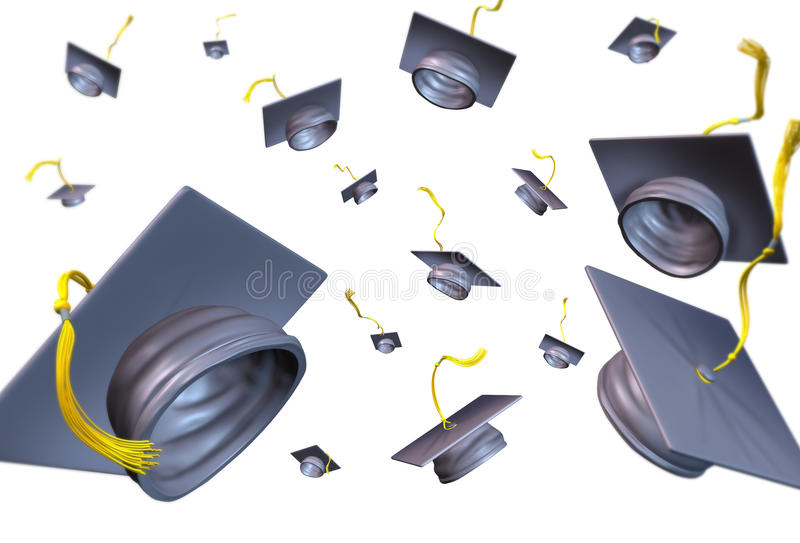 Download Graduation Hats Thrown In The Air Stock Illustration - Image: 21505892