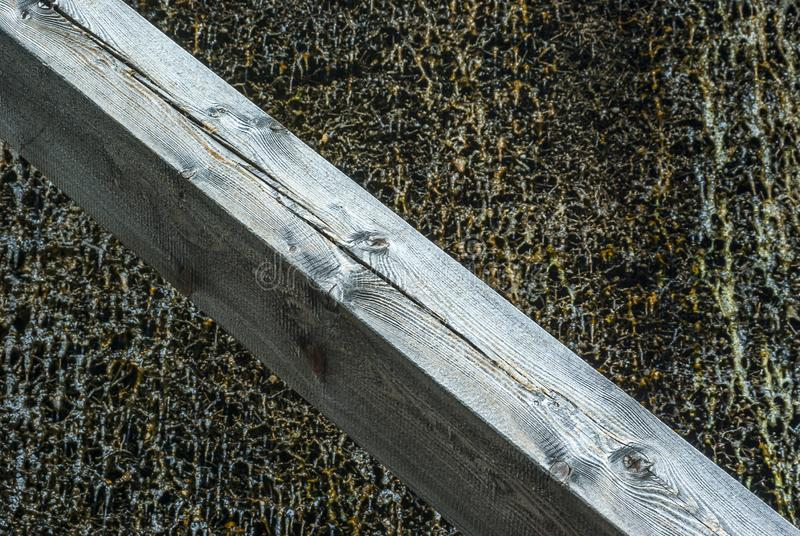 Graduation house, wooden construction and thorn wall of blackthorn bundles on which the brine trickles down and evaporates and. Forms Dornstein, a slimy coating stock photo