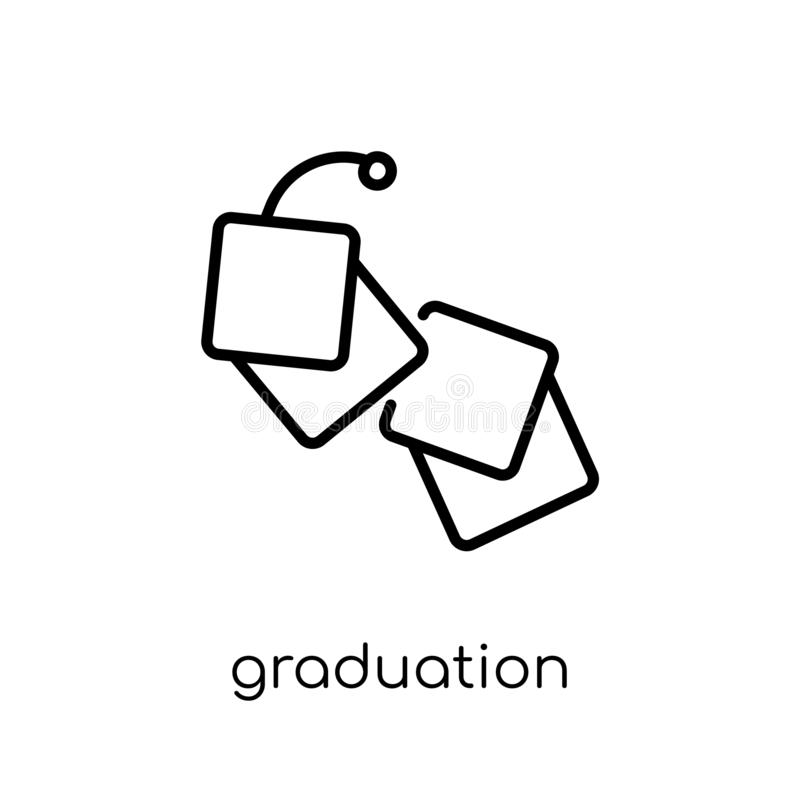 Graduation icon. Trendy modern flat linear vector Graduation icon on white background from thin line E-learning and education col vector illustration