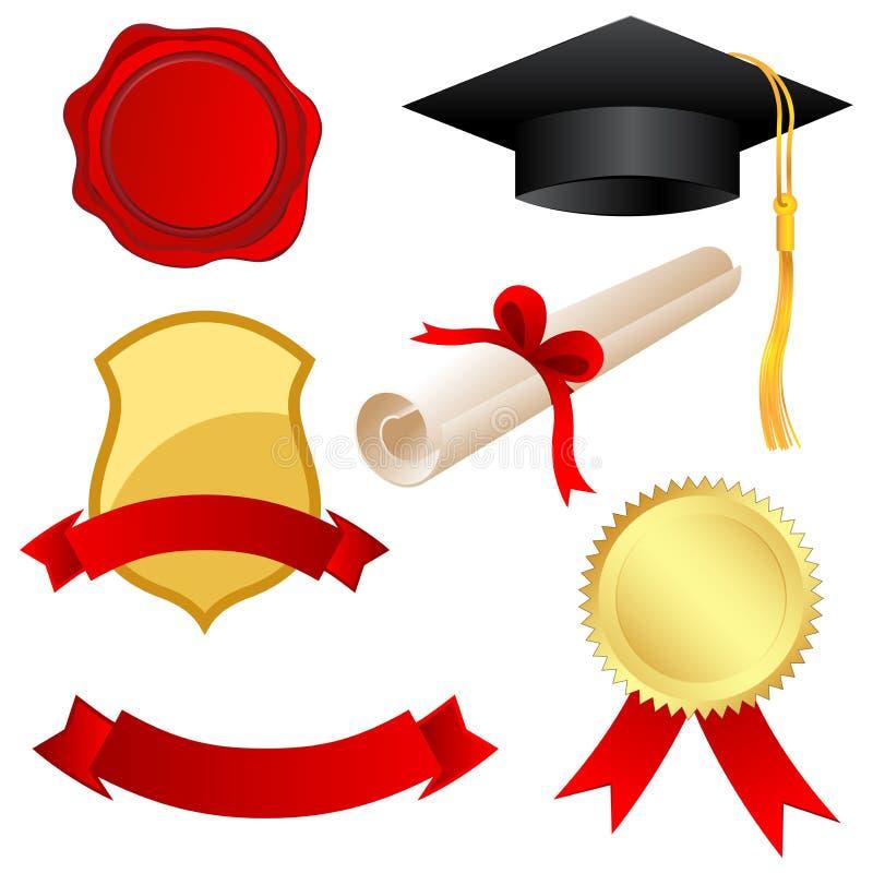 Graduation icons stock illustration