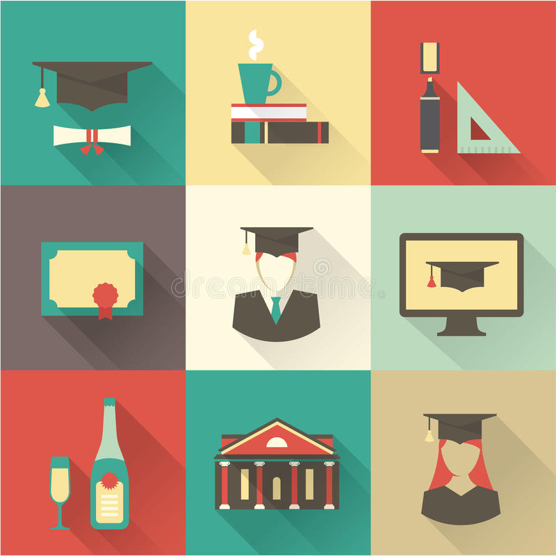 Graduation icons royalty free illustration