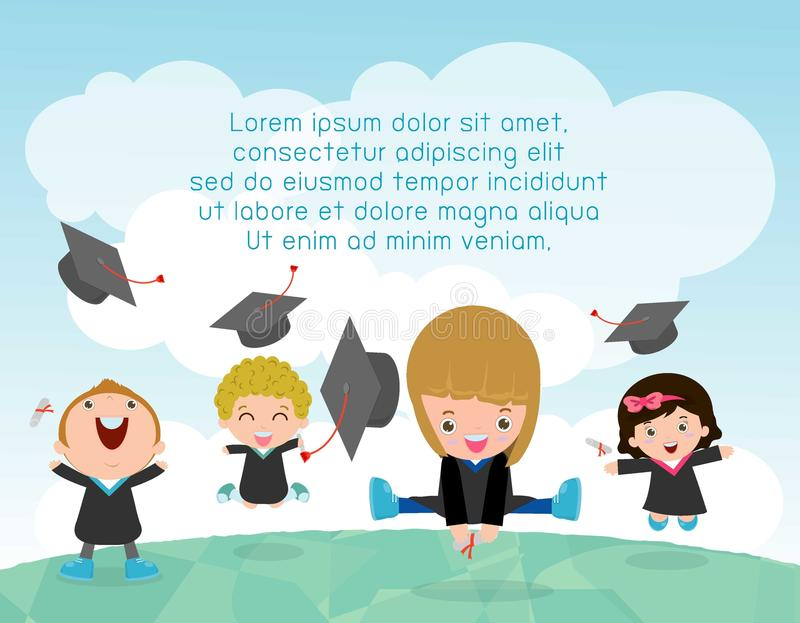 Graduation kids, happy child graduates, happy kids jumping, Graduates in gowns and with diploma, students graduation, illustration stock illustration