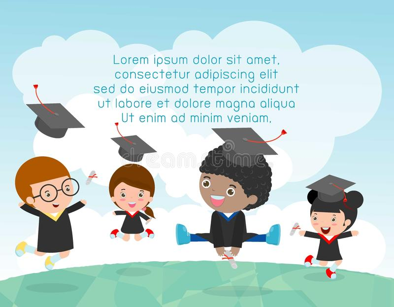 Graduation kids, happy child graduates, happy kids jumping, Graduates in gowns and with diploma, students graduation, illustration royalty free illustration