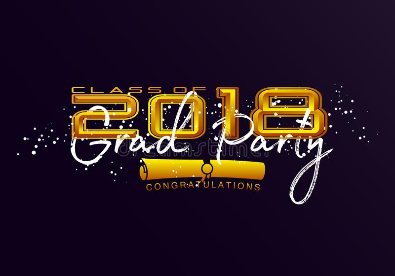 Graduation label. Vector text for graduation design, congratulation event, party, high school or college graduate. Lettering Class of 2018 for greeting vector illustration