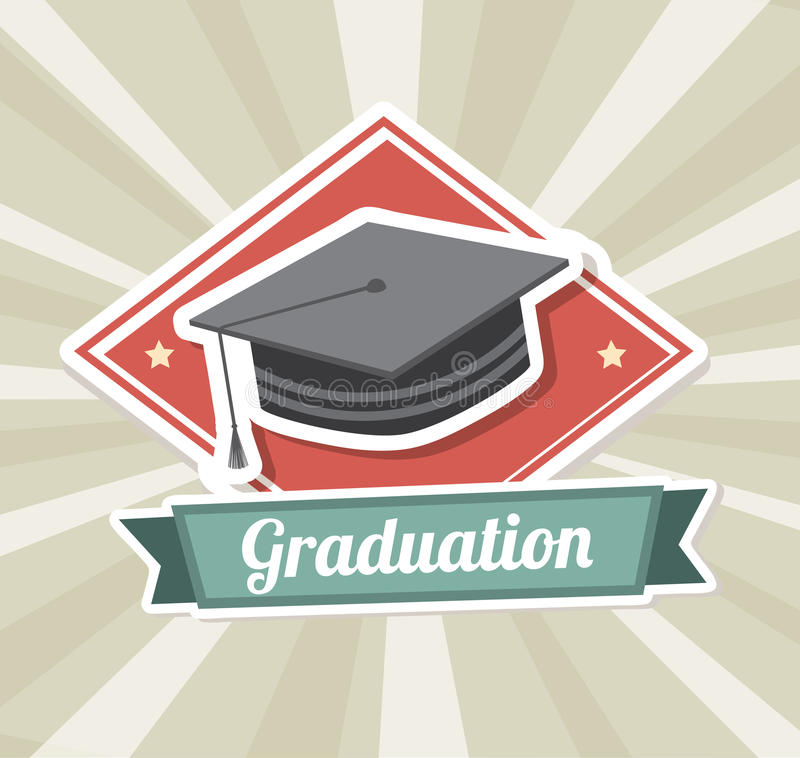 Graduation label. Over grunge background vector illustration royalty free illustration