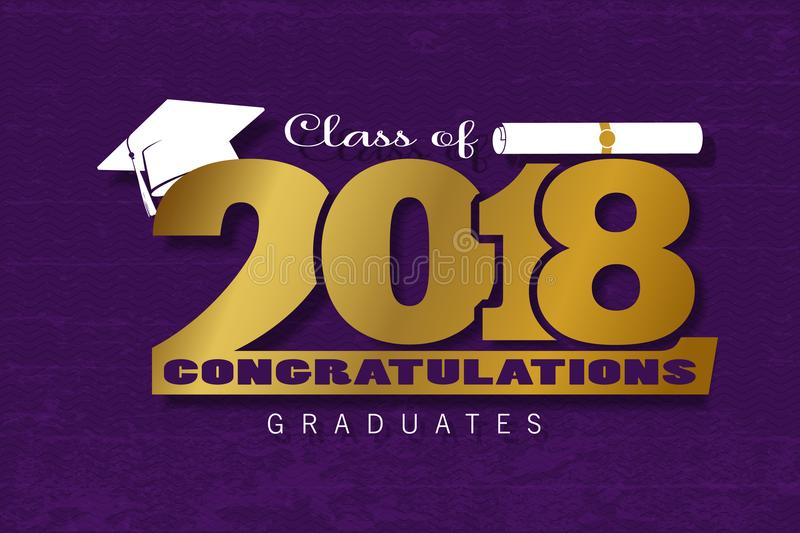 Lettering Class of 2018. Graduation label. Vector text for graduation design, congratulation event, party, high school or college graduate. Gold Lettering Class vector illustration