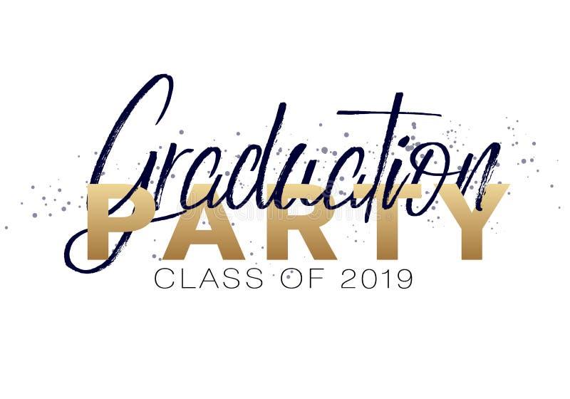 Graduation label. Vector text for graduation design, congratulation event, party, high school or college graduate. Graduation label. Lettering Class of 2019 for vector illustration