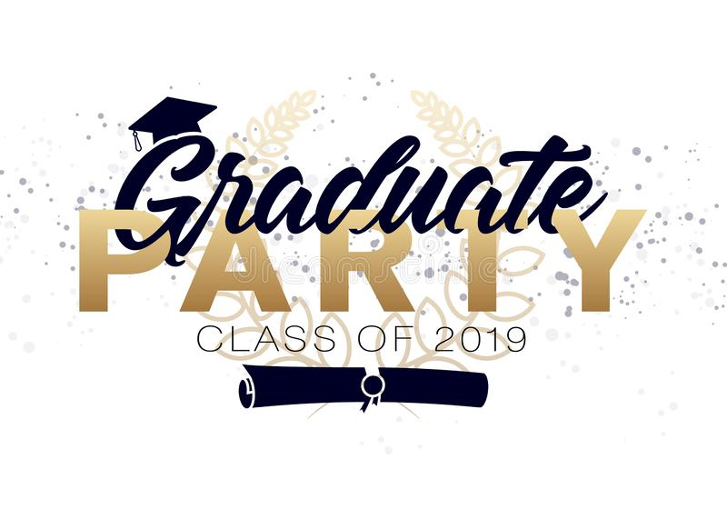 Graduation label. Vector text for graduation design, congratulation event, party, high school or college graduate stock illustration
