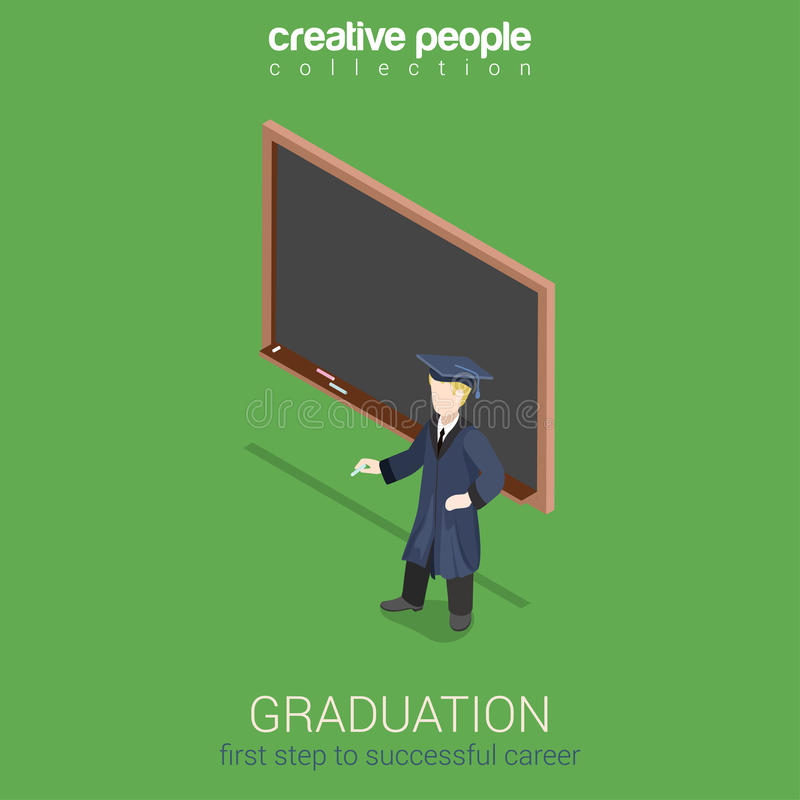 Graduation learning flat 3d web isometric infographic concept vector illustration