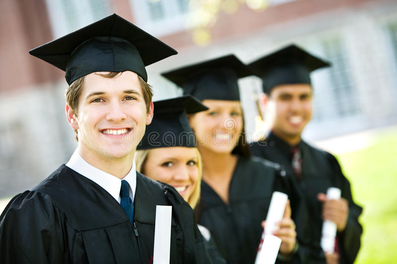 Graduation: Line of Smart Students stock photos