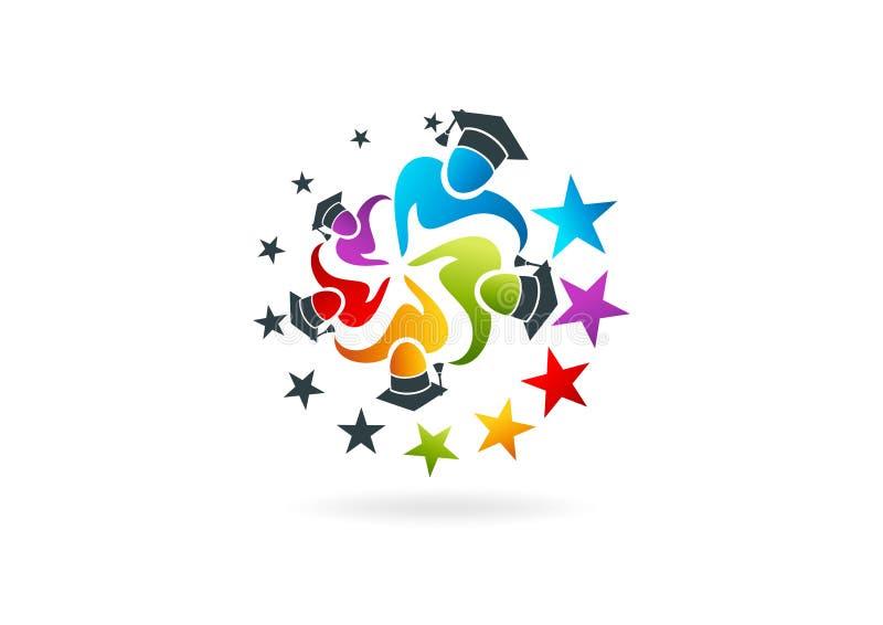 Graduation logo design royalty free illustration