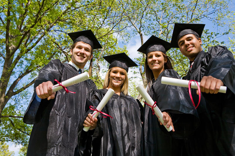 Graduation: Looking Up at Group of Graduates royalty free stock images