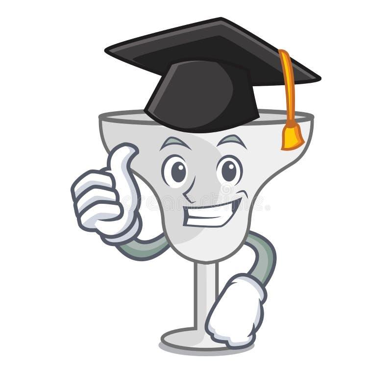 Graduation margarita glass character cartoon. Vector illustration stock illustration