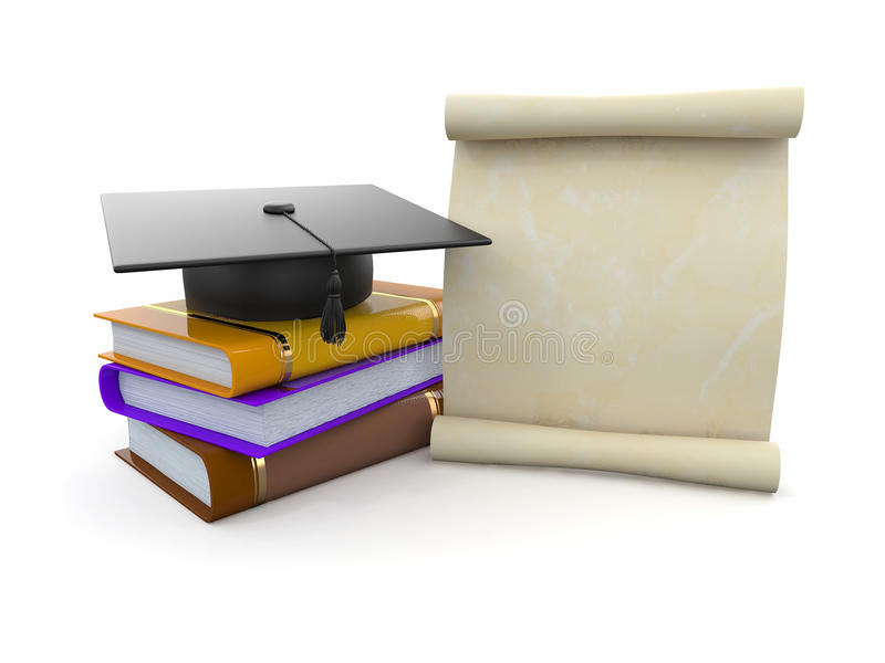 Graduation. Mortarboard, diploma and books