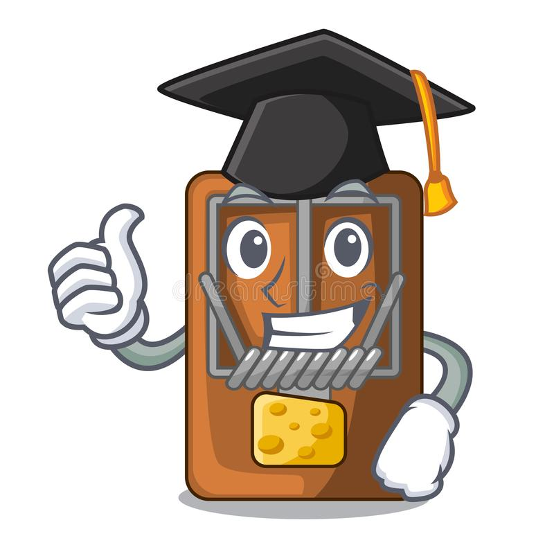 Graduation mousetrap in the shape mascot wood. Vector illustration royalty free illustration