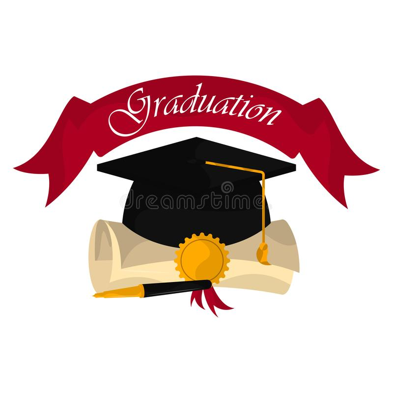 Graduation objects illustration royalty free illustration