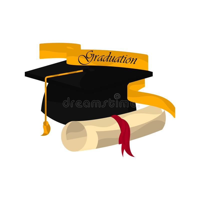 Graduation objects illustration. Graduation cap with a diploma and ribbon. Graduation concept - Vector royalty free illustration