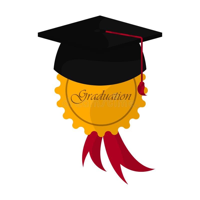 Graduation objects illustration. Graduation cap with a golden medal. Graduation concept - Vector royalty free illustration