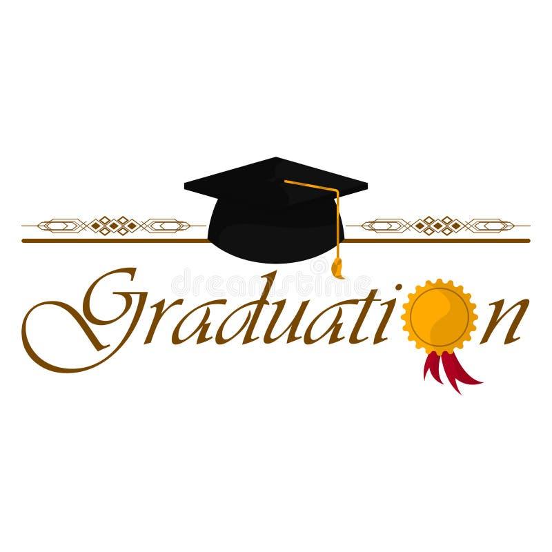 Graduation objects illustration. Graduation cap with text. Graduation concept - Vector vector illustration