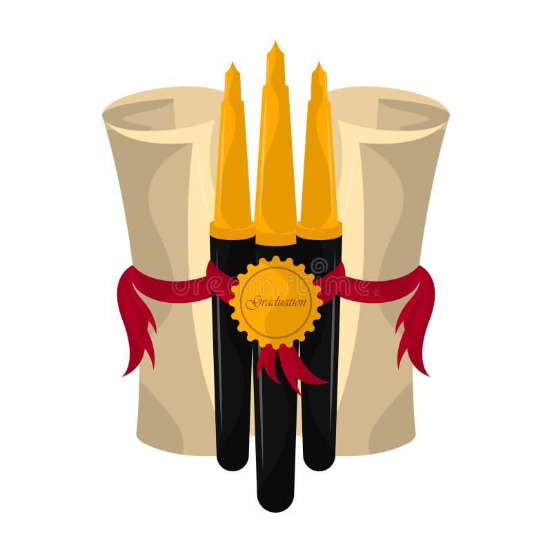 Graduation objects illustration. Graduation certificates with pens. Graduation concept - Vector vector illustration