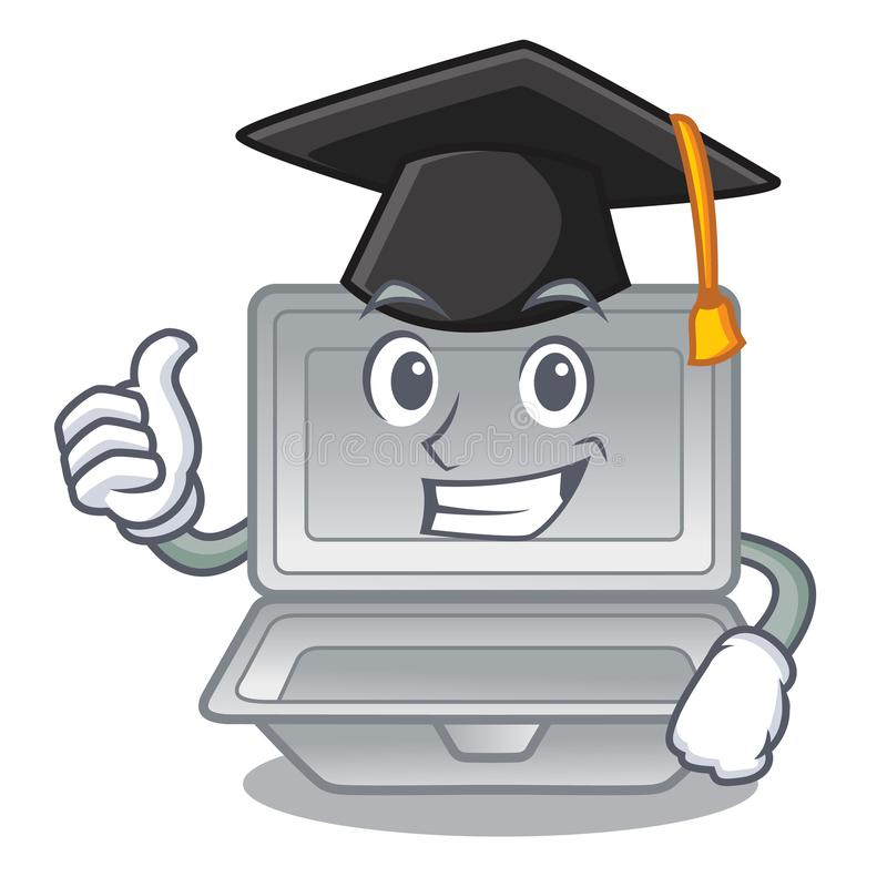 Graduation open styrofoam isolated with the mascot. Vector illustration royalty free illustration