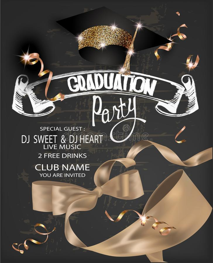 Graduation party 2018 banner with gold curly silk ribbon, serpentine, chalk letterings and graduation cap. royalty free illustration