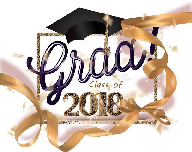 Graduation party 2018 banner with gold ribbon, frame and confetti. royalty free illustration